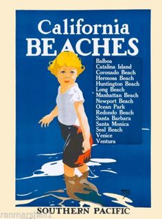 Southern California Beaches United States America Travel Advertisement Poster  in Art, Art from Dealers & Resellers, Posters | eBay