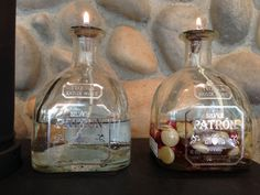 Repurpose Patron bottles into oil lamps.