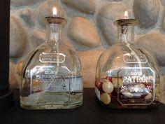 Repurpose Patron bottles into oil lamps.