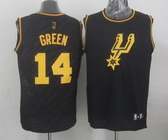 San Antonio Spurs #14 Danny Green Revolution 30 Swingman 2014 Black With Gold Jersey