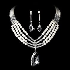 Silver Pearl and Swarovski Jewelry Set NE 8316