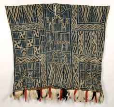 Africa | Nzondoup ~ Dance or Masquerade Ndop Tunic ~ from the Bamum or Bamileke people of Cameroon | First half 20th century | Cotton, trade cloth, goat hair   Strip weave, stitch resist dye