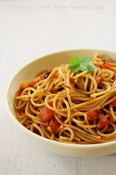 Spaghetti with Spicy Tomato Sauce recipe | Indian touch to Italian Pasta