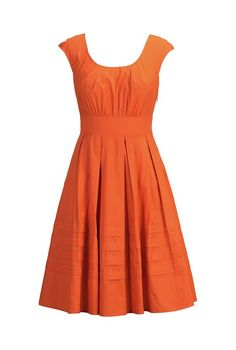 eShakti Women's Pleat neck cotton poplihn dress S-4 Short Orange