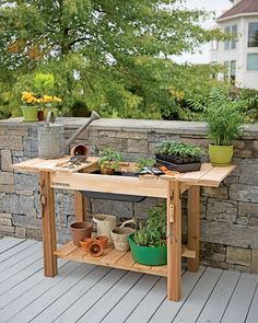 Potting Bench - Cedar Potting Table with Soil Sink | Gardeners.com
