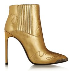 Saint Laurent Paris Metallic Leather Ankle Boots: How the West was Won