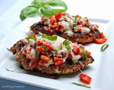 Bruschetta Chicken - a fresh taste of summer! Made with all organic ingredients and homemade Italian bread crumbs.
