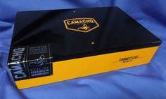 EMPTY CIGAR BOX CAMACHO CONNECTICUT ROBUSTO BLACK & GOLD  LAMINATED STEELERS