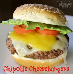 Chipotle Cheeseburgers. Heat up a casual burger with these zippy Chipotle Cheeseburgers.