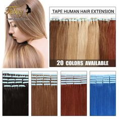 16inch-24inch Tape Human Hair Extension 20pcs/lot 100% Brazilian Virgin Hair Skin Weft Human Hair Extension 20colors to Choose