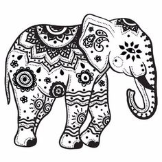 Mandala Indian Elephant Tattoo Stencil By Más Elephant Outline, Elephant Colour, Elephant Tattoo Design, Elephant Design, Elephant Tattoos, Indian Elephant Art, Mandala Elephant Tattoo, Baby Elephant, Elephant Stencil