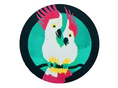 """@Behance: """"Woodcut Print with two Cockatoos"""" by Pia Kolle"""