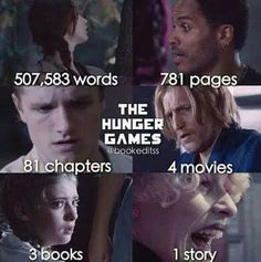 507,583 words, 781 pages, 81 chapters, 4 movies, 3 books, one story... The hunger games