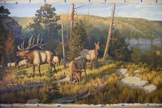 Handpainted mural panorama showing prehistoic landscape with elk, bison and mammoths. Prehistoric World, Dinosaur Art, Extinct Animals, Elements Of Art, Wildlife Art, Natural History, Landscape Art, The Dreamers, Horses