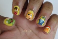 """nail-stuff:  """" Muppet nails! These didn't really turn out the way I wanted them to, but I still think they're pretty cute!  """""""