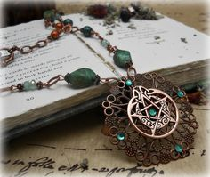 Priestess Moon Necklace Celtic pentacle Jade by MoonwiseCreationz, $39.99