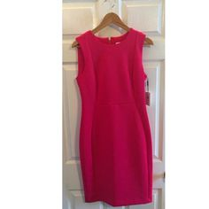"""Gorgeous Pink Calvin Klein Dress Absolutely stunning pink sleeveless Calvin Klein dress. Size 10 never been worn! NWT. It is made of 93% polyester and 7% spandex. 36"""" from neck to hem. Gorgeous for any professional event! No trades please!  let me know if you have questions ❓ and make me an offer!!  happy shopping!   All items from a smoke free home! Calvin Klein Dresses Mini"""