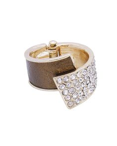 Leather + Pave Overlap Hinge Ring - ZR0038-BRONZE