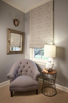 Mary McNelis Interiors. Great fabric on Roman Shade! Different patterns and textures in small area. -via Inteiror canvas