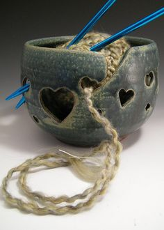 Yarn Bowl or Candle Holder by LorettaWrayPottery on Etsy, $34.00