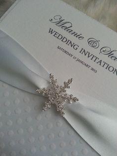 Luxury Winter 'Snowdrop' Glitter Handmade Wedding Invitation by StylishStationery