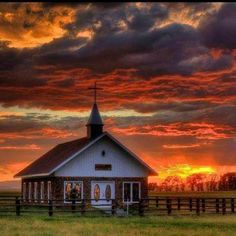 Gorgeous sunset, precious little church!