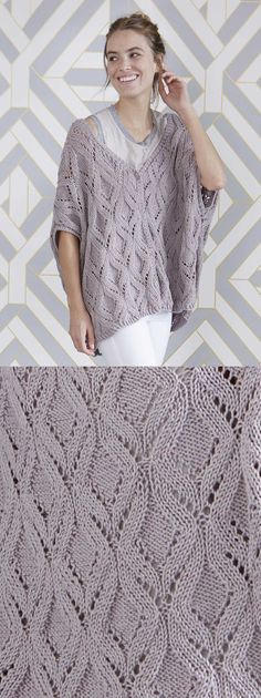 Free Knitting Pattern for a Oversized Lace Vest