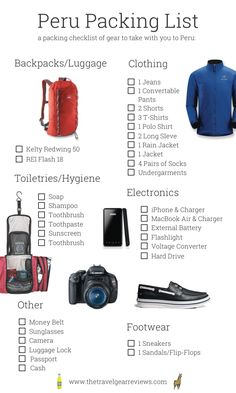 This Peru travel packing list has a list of items to bring when visiting Cusco & Lima Peru. Peru packing list includes Peru info and gear recommendations Travel Checklist, Packing List For Travel, Travel Advice, Travel Guides, Travel Tips, Travel Hacks, Packing Ideas, Travel Gadgets, Packing Lists