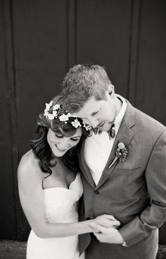 strapless Watters wedding dress, modern vintage men's attire, bride and groom's sweet embrace, rustic vintage DIY wedding