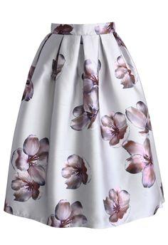 Peach Blossom Midi Skirt in Silver - Skirt - Bottoms - Retro, Indie and Unique Fashion