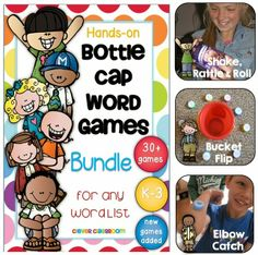 Bottle Cap Center Games for any Word List - new games added to this huge bundle.