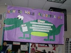 """Zoo unit """"Alligator Pie"""" Activity: See samples of how this kindergarten teacher uses interactive writing, shared reading, and informative writing (how-to and facts) during her study of zoo animals. 1st Grade Writing, Kindergarten Writing, Kindergarten Classroom, School Classroom, Classroom Themes, Future Classroom, Classroom Charts, Classroom Resources, Teaching Reading"""