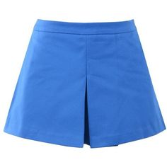 Love Moschino Shorts (24.895 HUF) ❤ liked on Polyvore featuring shorts, bright blue, love moschino, zipper shorts and pleated shorts