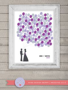 Una pareja de novios en la que cada globo es una huellade invitado... Ideal para bodas temáticas o en las que usan globos. #wedding #bodas #libro #firmas #invitados #guestbook