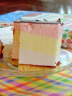 Kolorowa pianka Składniki : cienki blat biszkoptu… na Stylowi.pl Polish Desserts, Cold Desserts, Polish Recipes, Polish Food, Custard Slice, Cake Recipes, Dessert Recipes, Sandwich Cake, Food Cakes