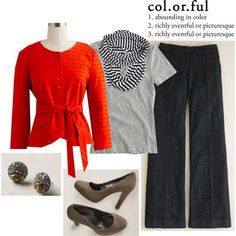 Orange, gray and navy created by lolalovesfrank on Polyvore