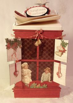 Twisted Christmas gift box using Used Wintertime in Swedish lapland  and Tim Holtz window and window box die - Anne Rostad