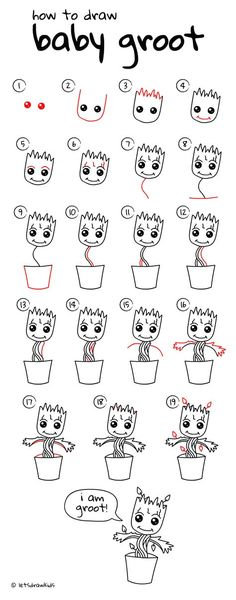 How to draw Baby Groot. Easy drawing, step by step, perfect for kids! Let's draw kids. http://letsdrawkids.com/
