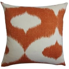 Leilani Orange Ikat Down Filled Throw Pillow | Overstock.com Shopping - The Best Deals on Throw Pillows