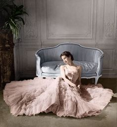 Christian Dior, 1953 designer gown pink evening formal full skirt sheer tulle 50s model magazine vintage fashion style