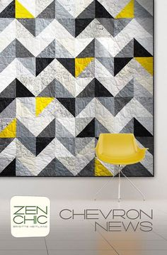 Use a layer cake of the lights and one of the dark modern background essential fabrics called PAPER & INK by Zen Chic. Give it an additional splash of the perfect color - and get an easy to sew quilt as a weekend project. These good news are also called CHEVRON NEWS.