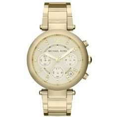 Michael Kors Parker Chronograph Champagne Dial Gold-tone Ladies Watch ($171) ❤ liked on Polyvore featuring jewelry, watches, analog chronograph watch, gold-tone watches, analog watches, stainless steel watches and stainless steel wrist watch