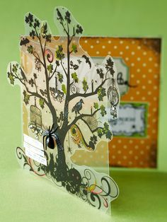 Peekaboo Halloween Card! This is THE MOST AMAZING card I have ever come across! I ❤️❤️❤️ the tree stamp on the vellum.