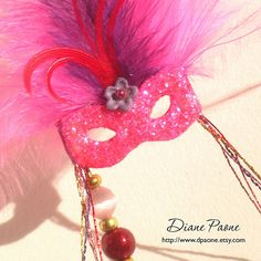 Dollhouse Miniature  Hot Pink Masquerade Mask  Dollhouse by dpaone, $50.00