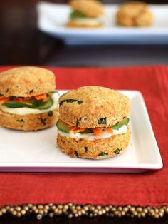 Thai Biscuit Mini Sandwiches with Quick Pickled Vegetables and Garlic Aioli - the delicious biscuits are infused with basil, red curry, and more! Naturally dairy-free and vegan recipe. @betsydijulio