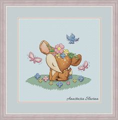 Cute deer baby girl in flowers with birds and butterfly, spring design cross stitch pattern (instant Cross Stitch Fairy, Butterfly Cross Stitch, Cute Cross Stitch, Counted Cross Stitch Patterns, Cross Stitch Designs, Cross Stitch Embroidery, Cute Christmas Cards, Magic Design, Spring Design