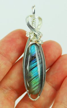 Labradorite Pendant Sterling Silver Wire wrapped sculpted stone