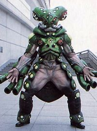 Mog is a Frog Rinshi that Camille commissions to attempt to defeat the rangers. The rangers dispose of him rather quickly. His appearance closely resembles that of Toady. See also Eruka - Super Sentai counterpart in Juken Sentai Gekiranger. See comparison page.