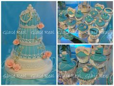 15 Años Flor cupcakes Tiffany y jaula en mismo color