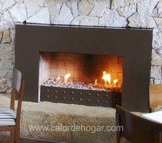 Chimenea moderna de gas Loft Basic, contemporanea, ecológica y minimalista